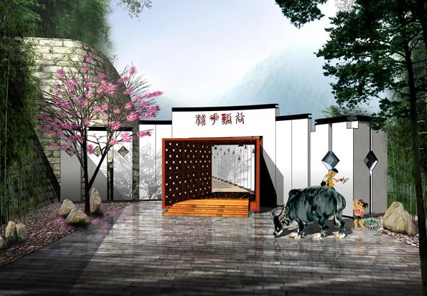 佛教景观设计手绘图片
