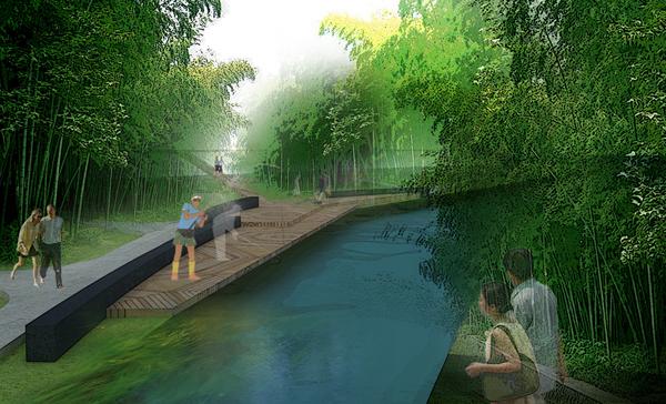 龙虎山风景区修建性规划:溪流竹林景观